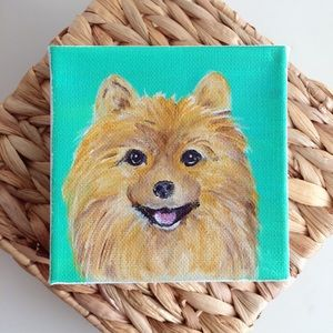 Pomeranian Pom painted dog canvas wall art